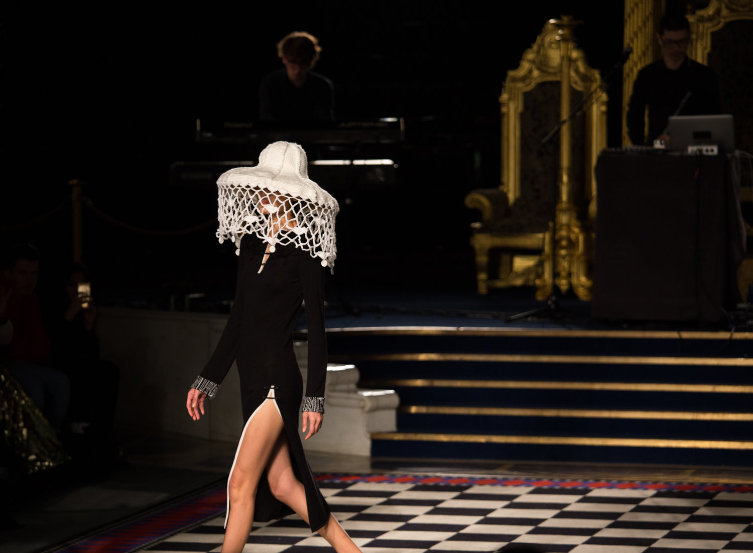 A still from the Apu Jan FW18 show at London Fashion Week in the grand temple of freemason's Hall