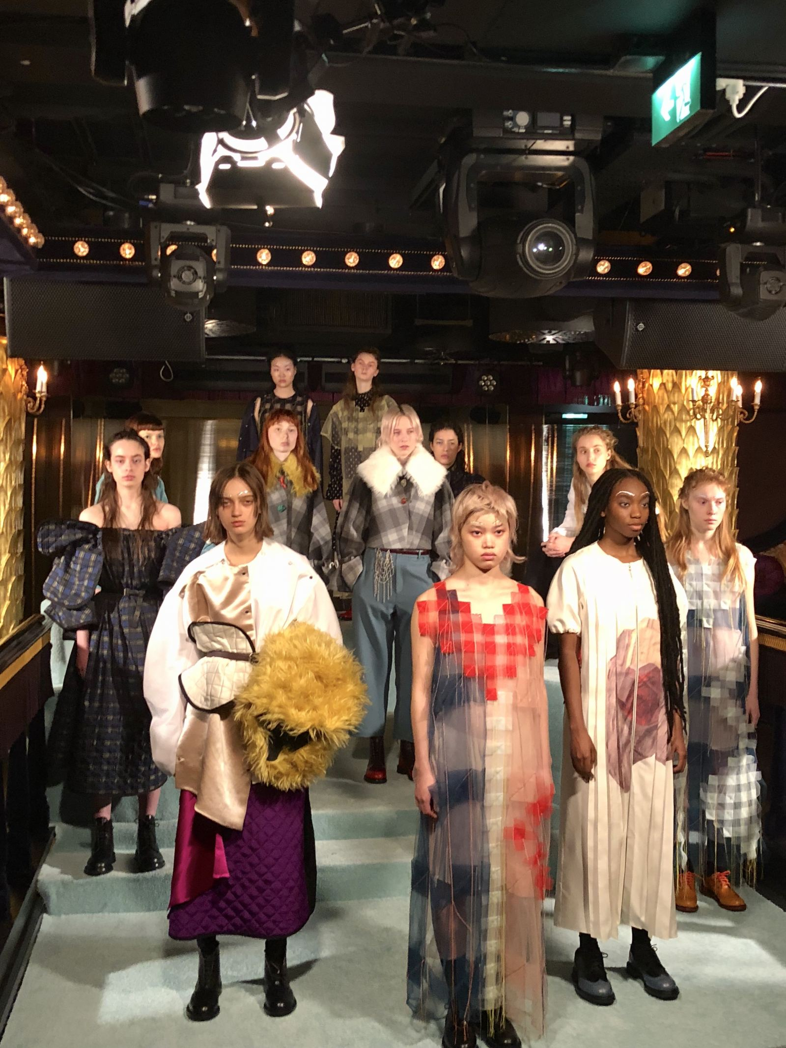 A collective image showing the full minki FW18 presentation for london Fashion Week at the Park Chinois