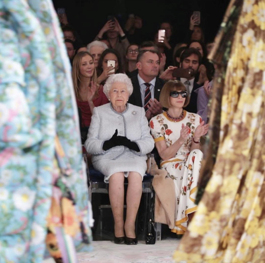 The Queen on the front row at Richard Quinn's FW18 runway show at London Fashion Week