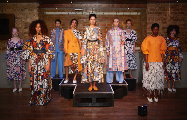 Teatum Jones SS19 LFW Fashion Voyeur Blog Round table not Runway Group shot of models at a fashion collection presentation
