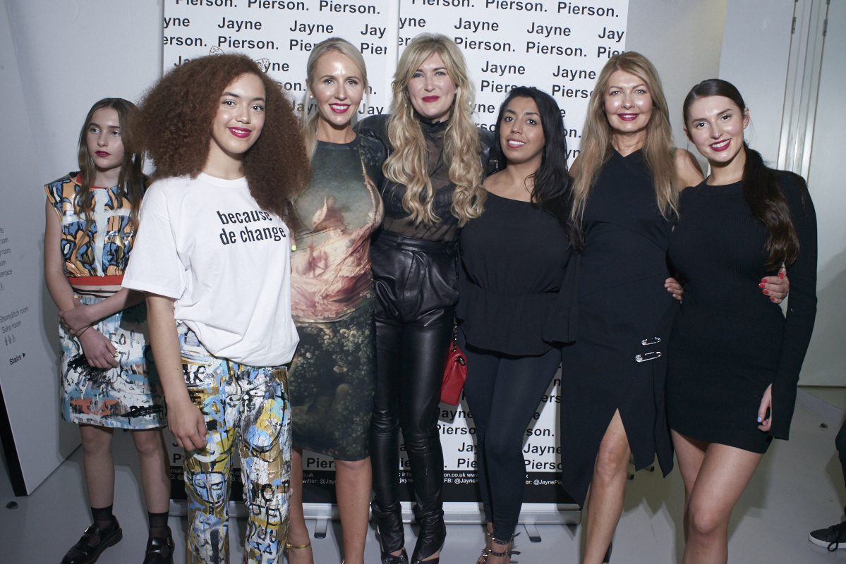Jayne Pierson SS19 at London Fashion Week Group Shot with Models after runway show