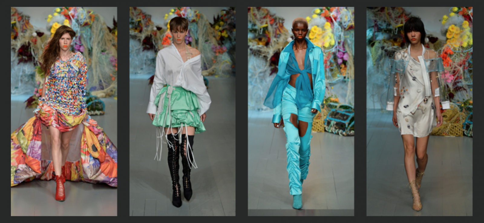 Lead Image for a post on the Fyodor Golan Spring Summer 2019 runway show at London Fashion Week for Fashion Voyeur Blog featuring 5 key looks