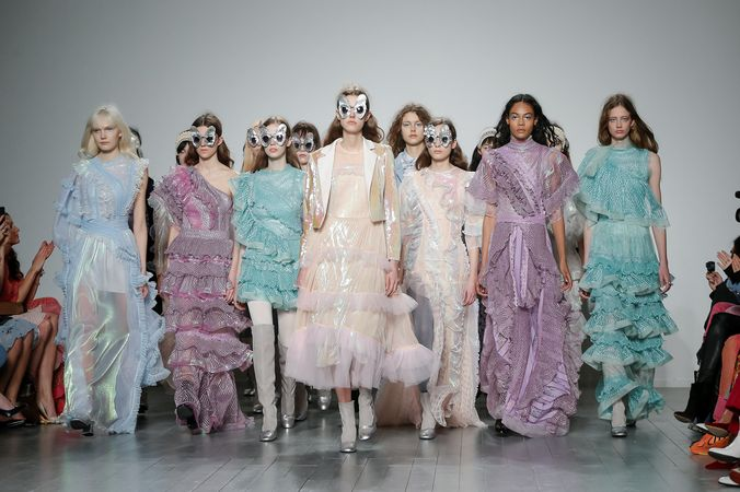 A group Image of models during the finale taken by Chris Yates at London Fashion week during the Boara Aksu FW19 runway show for Fashion Voyeur blog by Pixie Tenenbaum