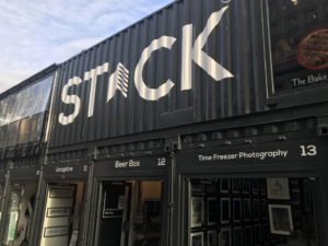 an image showing the front of Stack Newcastle pop up container village in newcastle Upon Tyne