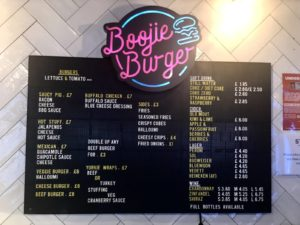 An image showing the full menu of burgers and sides served at Boojie Burger in Stack Newcastle