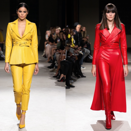 lead image for Fashion Voyeur Blog: Two still images side by side of models on the runway at the PRITCH London runway show right before London Fashion Week in September 2019 entitled divine beings