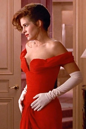 Julia Roberts wearing a red dress in Pretty Woman