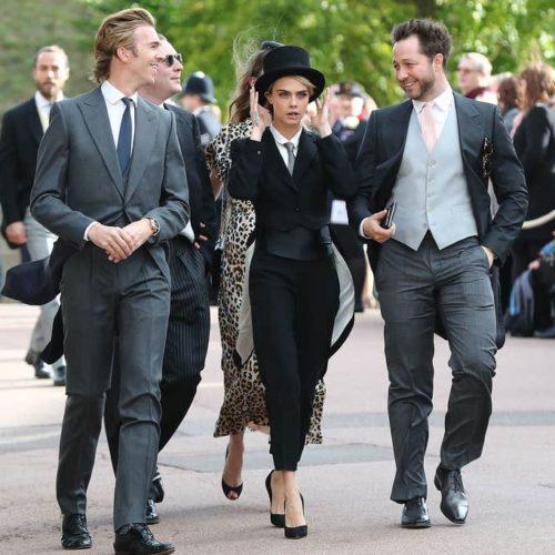 Cara Delevingne wearing Black Tie dress code at Princess Eugenie's Wedding