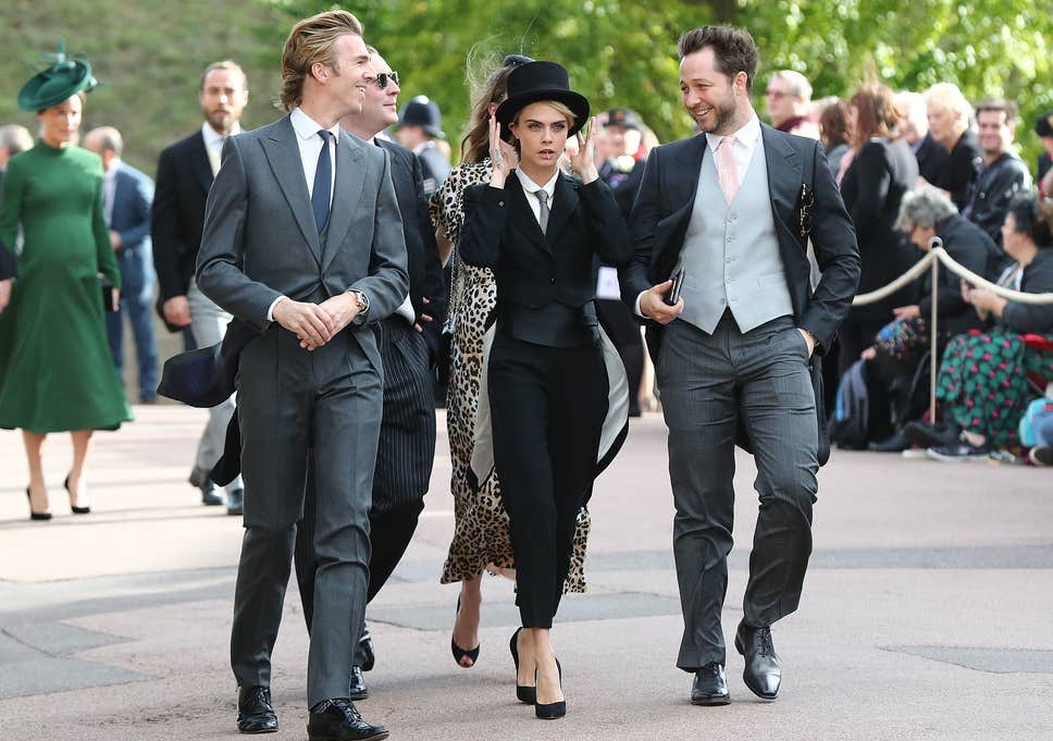 Cara Delevingne wearing Black Tie dress code at Princess Eugenie's Wedding