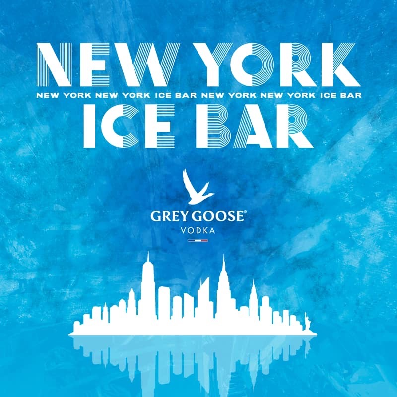 A promotional image advertising the arrival of the New York themed Grey Goose Ice Bar at STACK Newcastle
