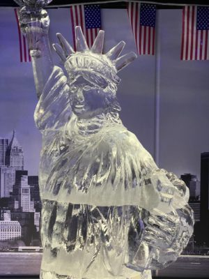 The Statue of Liberty carved entirely from ice on display in the Grey Goose Ice Bar at STACK Newcastle