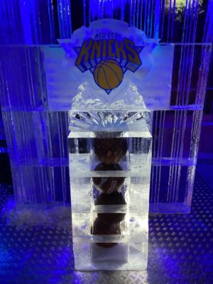 New York Nicks Basketballs encased in ice in the New York themed ice bar at STACK Newcastle in January 2020