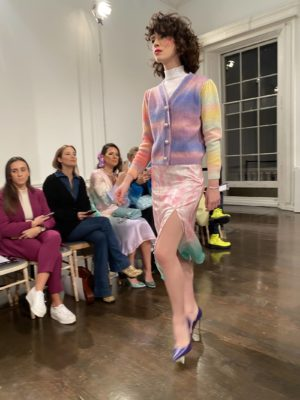 A model wears pink on the runway at the Olivia Rubin Fall Winter presentation at london Fashion Week