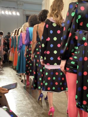 Models lined up on the runway at the end of the Olivia Rubin FW20 Fashion presentation at London Fashion Week in February 2020